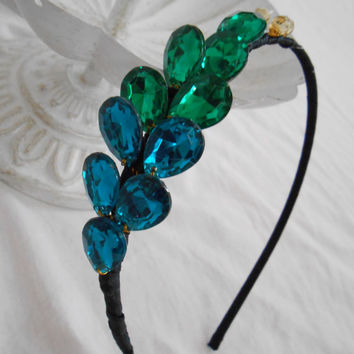 Peacock Feather Jeweled Fascinator Headband, Teal Blue & Green Gem Art Deco Tiara, Rhinestone Peacock Crown, Prom Hair Accessory