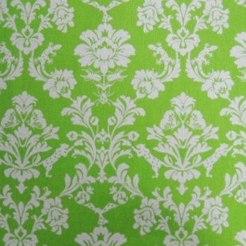 HALF YARD Kokka Fabric Fall 2012 - Echino Decoro - Lime Green Gothic Damask  - Gecko, Tiger, Butterfly, Spider