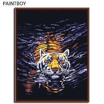 Tiger DIY Painting By Numbers Frameless Pictures Digital Canvas Painting Wall Home Decoration For Living Room G158