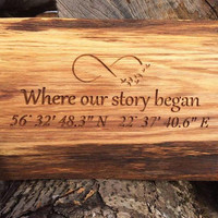 Unique Romantic Engraved Oak Location Sign, Natural Oak Wooden Sign, Natural Wood Engraved Sign,'Where Our Story Began' Sign, Oak Home Decor