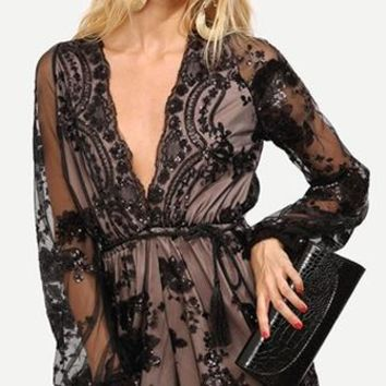 Bedroom Eyes Black Beige Sheer Floral Lace Long Loose Sleeve Plunge V Neck Tassel Sequin Romper Playsuit