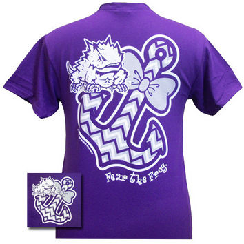 New Texas TCU Horned Frogs Chevron Anchor Bow Girlie Bright T Shirt