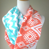 Tiffany and Coral Ethnic Eye Chevron infinity scarf, soft jersey scarf, 15% off at checkout PROMO CODE:   WANELO15