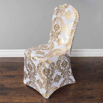 Gold colour print chair cover pattern lycra chair cover for wedding party decoration cheap price spandex fit all chairs