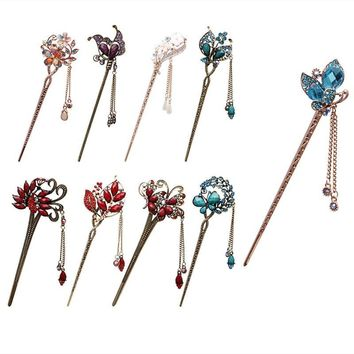 Various Retro  Women Elegant Bobby Pin Colorful Hairpin Rhinestone Hair Stick