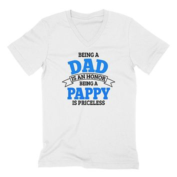 Being a dad is an honor being a pappy is priceless grandpa grandfather  to be gifts for him pregnancy announcement Father's day  V Neck T Shirt