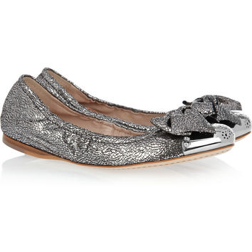 Miu Miu | Cracked metallic-leather ballet flats | NET-A-PORTER.COM