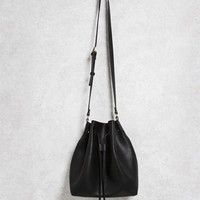 Faux Leather Tassel Bucket Bag