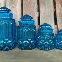 Vintage Aqua Blue Moon and Stars Canister set, LE Smith / Wright Glass canister set, Flour, sugar, tea, coffee canisters, vintage blue glass