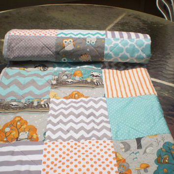 Woodland Baby quilt,baby boy bedding,baby girl quilt,rustic,teal,grey,burnt orange,raccoon,chipmunk,fox,owl,chevrons,toddler,More Critters