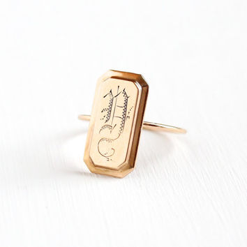 "Antique 10k & 14k Rose Gold Initial ""D"" Ring - Size 7.5 Early 1900s Victorian Edwardian Fine Stick Pin Conversion Monogrammed Signet Jewelry"