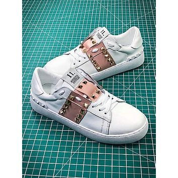 Valentino Rockstud Untitled White Pink Sneakers