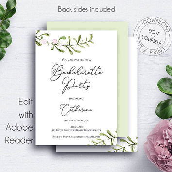 Bachelorette Party Invitations, Rustic Bridal Shower, Bride to Be, Wedding Set, Customize, Green Leaves, Nature Invites, Winter Wedding