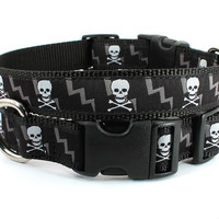 Black skull dog collar - xxs - xl black and white skull and crossbones collar: skulls and bolts black