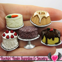 Jesse James Buttons 5pc Let Them Eat CAKE / Turn them Into Decoden Cabochons
