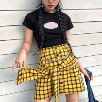 Plaid Waist Tie Skirt