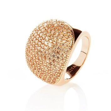 22ct Rose Gold Vermeil Micro Pave Statement Cocktail  Ball Ring - Champagne Zircon