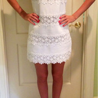 Casual Floral Lace Embroidered Sleeveless Mini Dress