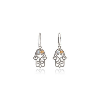 Hamsa Earrings • Citrine • Silver