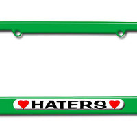 Haters Love with Hearts License Plate Frame