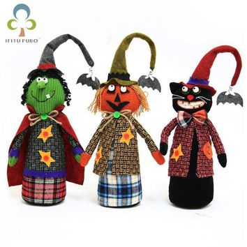 New Halloween creative pumpkin witch black cat doll dolls Halloween shopping mall window decoration props free shipping GYH