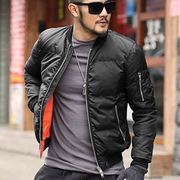 Brand winter warm Jacket men Solid Flight Black Bomber jacket casual motorcycle thick coat male cotton padded outerwear F279