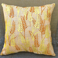 Autumn Harvest Burlap Pillow