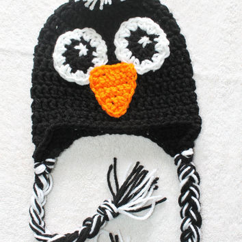 PATTERN for Crochet Penguin Hat with Tassels. Newborn - Adult . Instant Download.