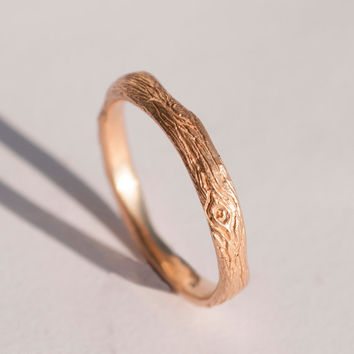 Twig Ring no.2 - 14K Rose Gold Ring, wedding ring, rose gold wedding band, antique, art nouveau, vintage, bark ring, wood ring, rough