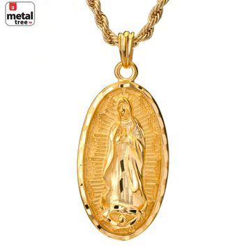 "Jewelry Kay style Men's Hip Hop Diamond Cut Medallion Virgin Mary Pendant 24"" Rope Chain Necklace"