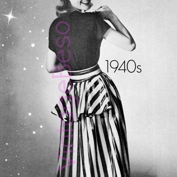Peplum Evening Skirt 40s Vintage Skirt SEWING PATTERN in PDF Pattern Vintage Beso Sewing Pattern Instant Download