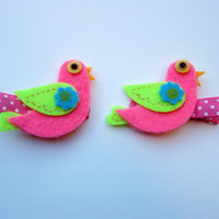 Felt Hair Clips, Baby Hair Clips, Baby Clippie, Girls Hair Accessories, Girls Felt Hairclip, Pink Bird Felt Clippie