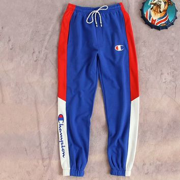 Champion 2018 summer new color contrast embroidery logo waist beam foot guard pants F-CY-MN Blue