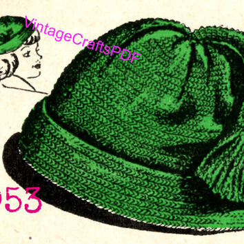 1953 Crochet Pattern | Cap with Tassel | Cap Pattern-Hat Pattern-1950s Hat Pattern-Vintage Crafts PDF-Vintage Fun-Clothing Pattern- USA