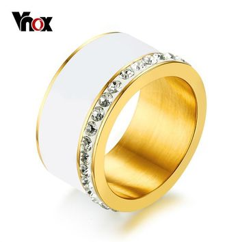 Vnox Engagement Rings for Women Gold Color Stainless Steel Female Wedding Bands Crystal Finger Ring Jewelry