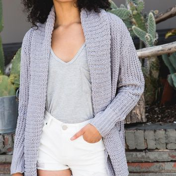 Open Front Chenille Cardigan Sweater - Grey