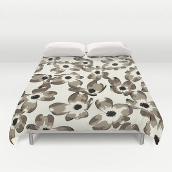 Dogwood Floral: Neutral combo Duvet Cover by Eileen Paulino