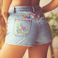 Spell & the Gypsy Collective Womens Love Child Embroidered Shorts