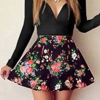 Black Long Sleeve Floral Printed Printed Skater Dress