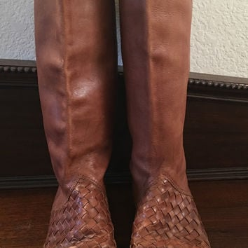 vintage Brazil made woven whiskey brown distressed leather flat heels boots hipster indie boho women size 8 us