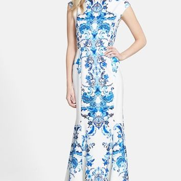 Women's Eliza J Print Crepe de Chine Mermaid Gown