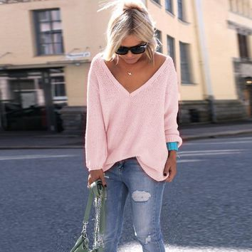 LOSSKY Sexy Deep V Neck Long Sleeve Thin Loose Autumn Sweater Women 2018 Plus Size Knitted Pink Black Pullovers Pull Femme Hiver