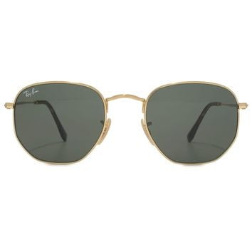 Ray-Ban RB-3548N-001-51 Square Sunglasses Gold Frame Green Lens