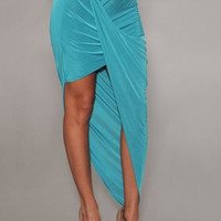 Blue Asymmetrical Draped Skirt