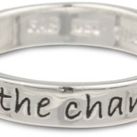 "Sterling Silver ""Be The Change You Wish To See in the World"" Ring, Size 6"