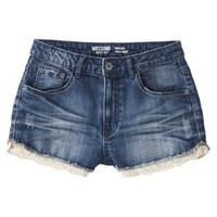 Mossimo Supply Co. Junior's High Waisted Denim Short with Lace Trim