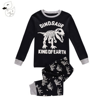 BINIDUCKLING Autumn Baby Boys Sleepwear Pajama Sets 100 % Cotton Dinosaur Printed t-shirt+pants 2pcs Bebes Children's Clothing