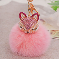 Hot Sale llaveros mujer Fur Ball with Artificial Fox Head Porte Clef Inlay Pearl Rhinestone Key Chain On Women Bag Feida