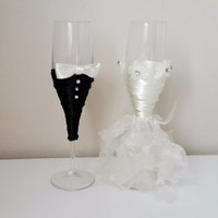Bride And Groom Wine Glasses, Wedding Glasses, Wedding Gifts