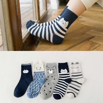 PEONFLY Cotton Ventilation Leisure Ears Cartoon funny novelty colorful cute socks female women kawaii sock hosiery 5PAIRS/LOT